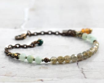 Minimalist labradorite bracelet with amazonite, Natural gemstone jewelry for women, Sister gift, One of a kind present for mom