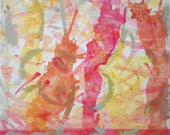 Large Abstract Acrylic Painting Pink Painting Yellow Painting Orange Painting Modern Art Contemporary Art