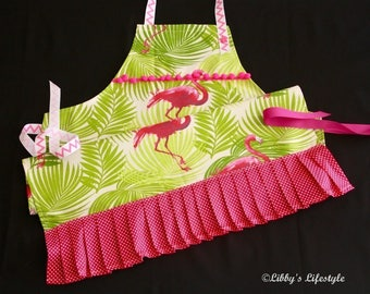 Flamingoes women's apron. Handmade.