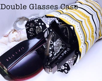 Bandanna Double Glasses Case, Black Double Pocket Sunglasses Pouch, Yellow 2 Pocket Eyeglasses Case, Eyeglasses Organizer