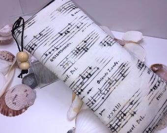Sheet Music Glasse Case, Zipper Top Eyeglasses Pouch, Elegant Sunglasses Case, Fabric Glasses Case, Soft Eyeglass Case
