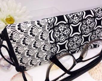 Art Deco Glasses Case, Zipper Top Eyeglasses Pouch, Black and White Sunglasses Case, Fabric Glasses Case, Soft Eyeglass Case
