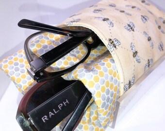 Honey Bee Double Eyeglass Case, Glasses Case, Honeycomb Double Pocket Sunglasses Pouch, Eyeglasses Organizer
