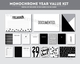 Monochrome Year - Project Life scrapbook cards (Printable & Digital)