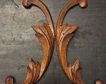 Good Set Of 2 Salvaged Wooden Trim Pieces/Furniture Appliqués/Furniture Trim/Hand  Carved