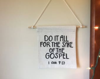 1 Corinthians 9:23 banner, tapestry, wall decor, Gospel, Scripture