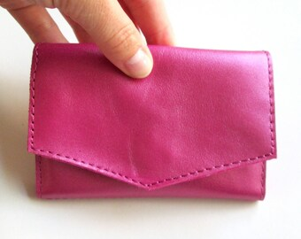 Pink Leather Wallet For Girl Small Wallet Personalized Wallet For Her Pink Wallet Gift Idea Christmas Gift Leather Accessories