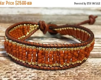 SUMMER SALE Orange Beaded Bracelet / Boho Bracelet / Leather Wrap Bracelet / Bead Loom Bracelet / Chan Luu Style / Seed Bead Bracelet
