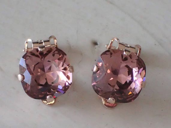 Blush Rose Crystal Clip On Earrings, Rose Gold