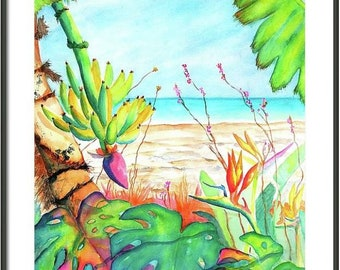 Large Watercolor ORIGINAL Painting, Banana Palm tree, 18x24 Tropical Plants, Monstera Leaves, Bird of Paradise, Beach, Ocean, leaf wall art