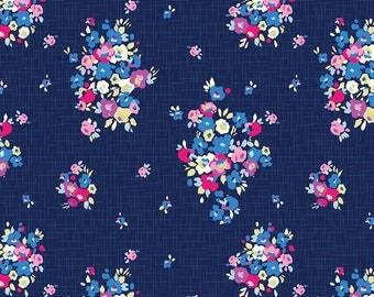 1 Yard Blue Carolina Christopher Thompson for Riley Blake Designs 6590 Navy Floral Main