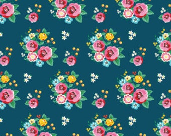 1 Yard Happiness is Handmade by Lori Whitlock for Riley BLake Designs- 6720 Navy