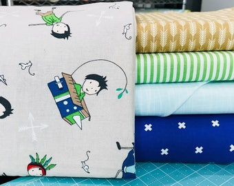 SALE!! Fat Quarter Bundle Greatest Adventure by Cinderberry Stitches for Riley Blake Designs with Mixed Fabrics- 5 Fabrics