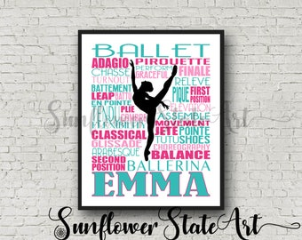 Ballet Typography, Personalized Ballet Poster, Gift for Ballet Dancers, Ballet Art, Ballet Print, Dancer Gift, Dancer, Dance Team Gift