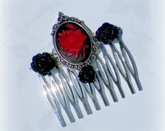 Rose Hair Comb Gothic Black Cameo Vintage Style  Bridal Victorian Red Rose Gyspy Boho  Steampunk Wedding Gothic Bohemian