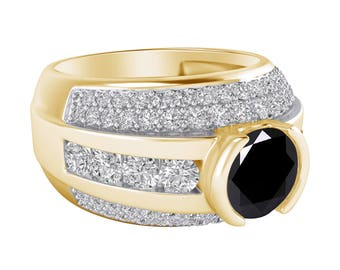 Black & White Diamond 2.55 Ct Round Cut Solitaire with Accents 3-Row Engagement Ring 14K Yellow Gold