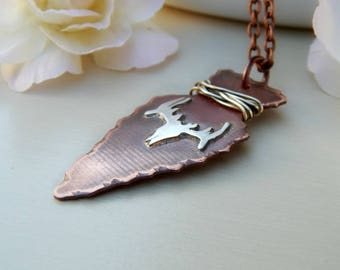 Copper necklace, copper long necklace, rustic,sterling silver,arrowhead necklace,arrow necklace,deer head,skeleton head,deer skull,handmade