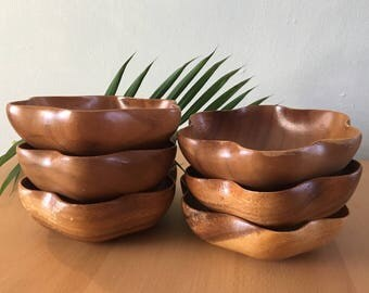 Vintage set of 6 Cel-Craft Monkey Pod flower shaped wood soup / salad bowls warm tone & perfect for Boho or tropical Old Florida home!