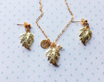 Rustic Bridesmaid Jewelry Set / Rustic Wedding Necklace / Bridal Jewelry Set / Gold Leaf Necklace and Earrings / Gold Leaf Jewelry