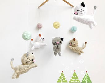 Crochet Baby Mobile Meow Meow Kitten, Cat baby mobile,Cat crochet mobile, Kitten, Baby Crib Mobile, Nursery crib mobile