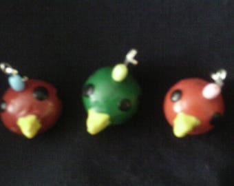FREE SHIPPING Made by a kid, for a kid - zipper pull charms - bird faces