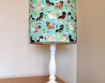 Daschund dog print fabric lamp
