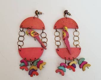 1980s Bird Cage Earrings with Parrots