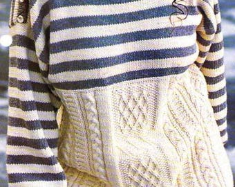 striped sweater and its mix of Irish stitches