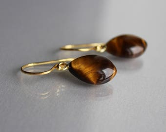 Gold Tiger Eye Drop Earrings 14k Gold Filled, Glowing Yellow Smooth Drops