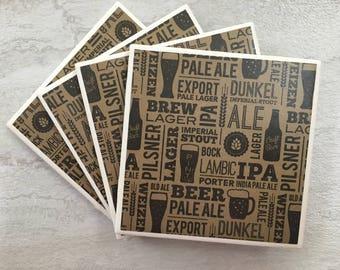 Beer Gift, Man Gift, IPA Beer, Tile Coasters, Ceramic Coasters, Drink Coasters, Coaster Set, Set of 4 Coasters, Coasters, Beer Coasters