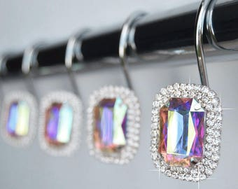 Shower Curtain Hooks Rings - Luxurious Multi Color Rainbow Iridescent Decorative Crystal Diamond Bling Rhinestone Bathroom Set