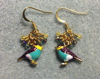 Turquoise, purple, and yellow enamel finch charm earrings adorned with tiny dangling turquoise, purple, and yellow Chinese crystal beads.