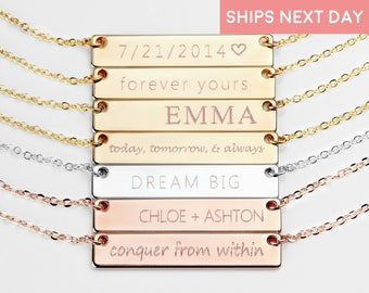 Personalized gift for mom Name Necklace Name Plate Necklace Initial Necklace Gold Bar Necklace Personalized bar necklace - 4N