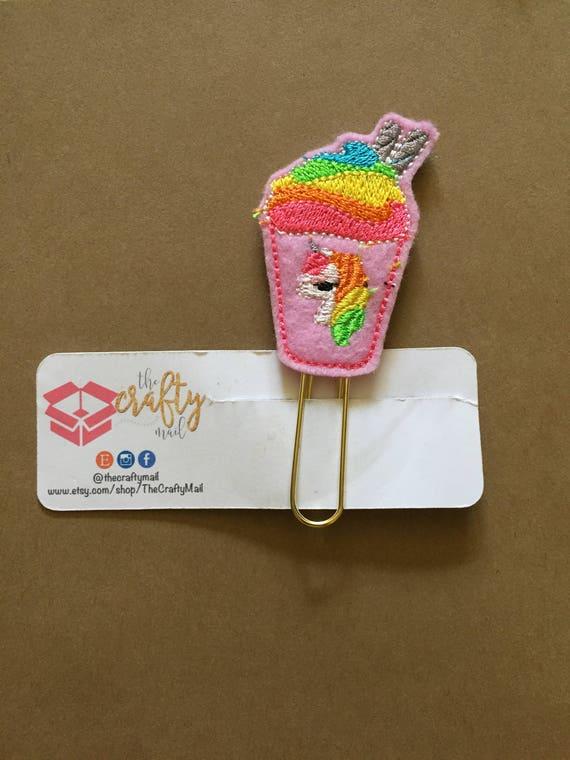 Unicorn Frappucino planner Clip/Planner Clip/Bookmark. Unicorn Paper Clip