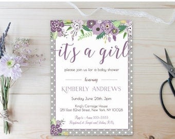 20% OFF BABY SHOWER Invitation Its a Girl Baby Shower Invitation , Purple and Grey , Floral Baby Shower , It's a Girl Baby Shower , Printabl