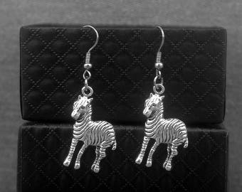Silver Zebra Earrings -Animal Earrings -Gift For her -Bridesmaid Jewelry -With Gift Box