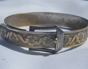 Vintage Gold And Silver Tone Metal Floral Belt Buckle Bangle Bracelet