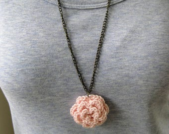 Crochet flower pendant necklace, blush pink necklace, crochet rose pendant, blush pink jewelry, crochet jewelry, crochet necklace