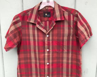 Vintage Boys 60's Burgundy Plaid Rocksbilly Button Up Shirt sz 16
