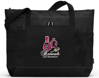 Nail Technician Personalized Zippered Tote Bag With Mesh Pockets, Beach Bag, Boating