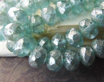Aqua Mist, Rondelle Beads, Czech Beads, Beads, N1968