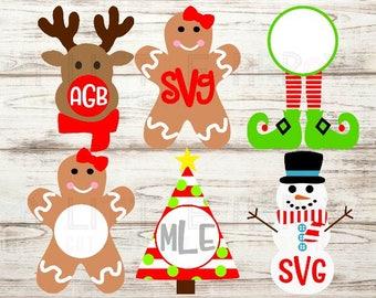 Christmas Monogram SVG set - Christmas monogram DXF set - Christmas cut file - Christmas svg - Chistmas iron on