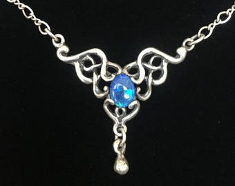 Art Nouveau Blue Opal and Hand-Cast Sterling Silver Necklace. Antique / Vintage. Lavaliere / Pendant.