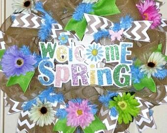 Spring wreath, Spring Welcome wreath, pastel mesh wreath, Easter wreath, burlap Spring wreath, Spring door hanger, Spring mesh wreath