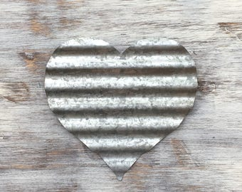 Metal Heart, Metal Letter, Corrugated Metal, Galvanized Letter, Rustic Heart