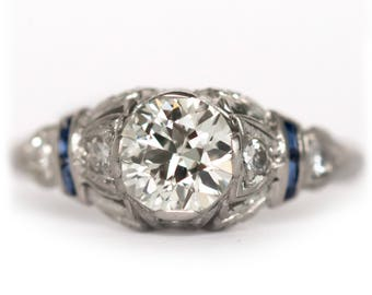 Circa 1920's Art Deco Platinum .82ct Old European Cut Diamond and French Cut Natural Sapphire Engagement Ring-VEG 904