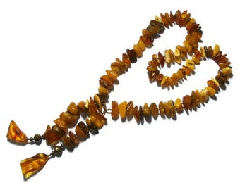 Amber necklace natural tie