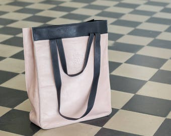 Pink minimalist tote bag, leather totes, Dark gray strap, big tote, large bag, gift for her, urban nomad, casual leather bag - ready to ship