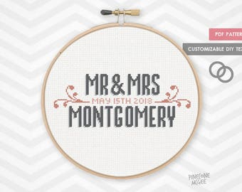 VINTAGE WEDDING RECORD counted cross stitch pattern, easy newlywed sampler pdf