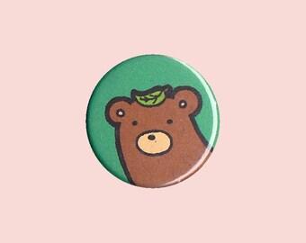 Bear Badge - bear pin, bear button, kid's button, children's badge, cute button